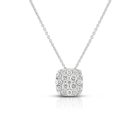 Sabel Collection 14K White Gold Round Diamond Square Cluster Pendant