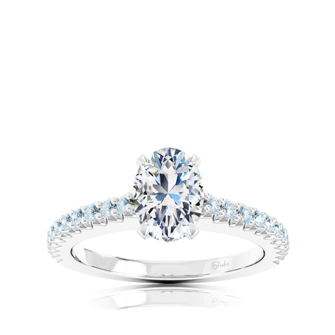 The Studio Collection Oval Center Prong-Set Diamond and Diamond Pavé Shank Engagement Ring