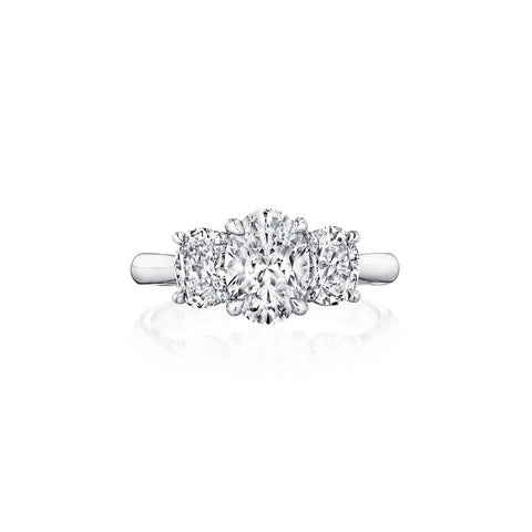 Fink's Exclusive Platinum Oval Three Stone Engagement Ring