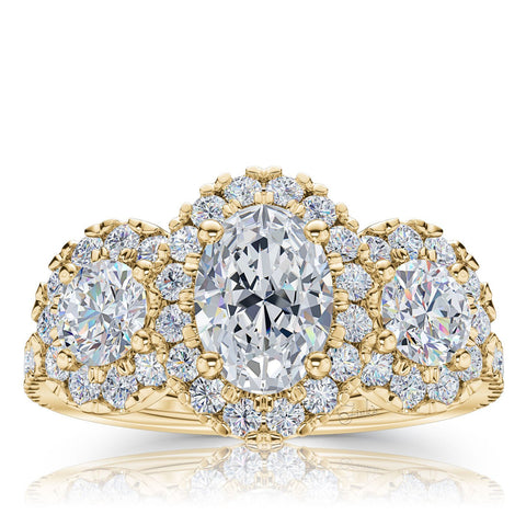 The Studio Collection Oval Diamond Halo Three Stone Engagement Ring