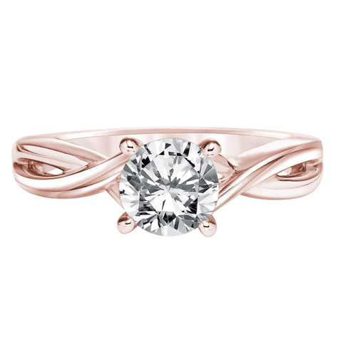 Fink's Exclusive Round Diamond and Twisted Shank Engagement Ring