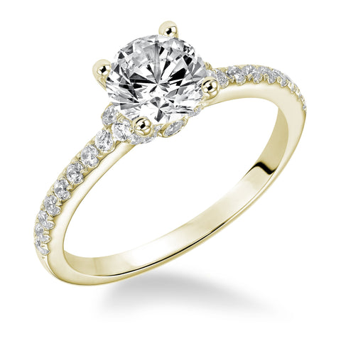 Fink's Exclusive 14K Yellow Gold Round Diamond Pave Shank Engagement Ring