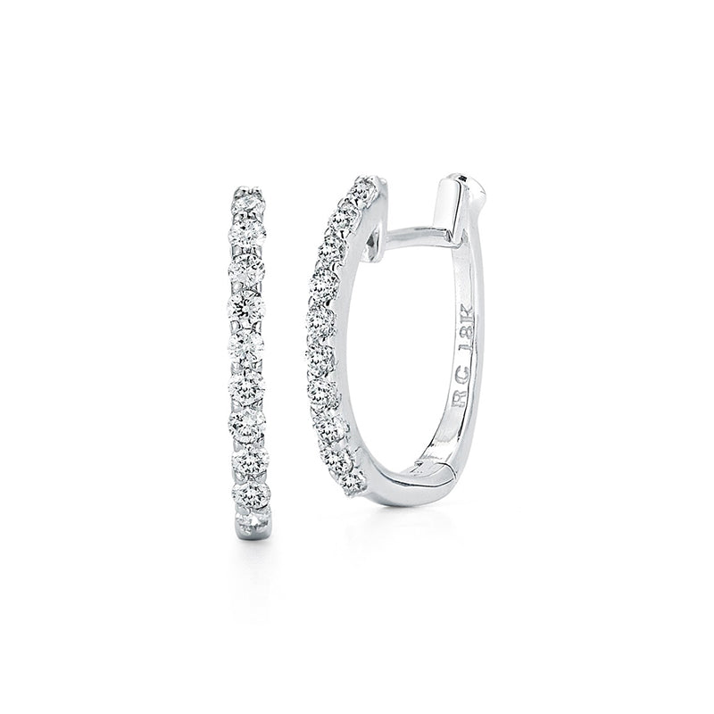 Roberto Coin Perfect Diamond Hoops 18K White Gold Baby Hoop Earrings
