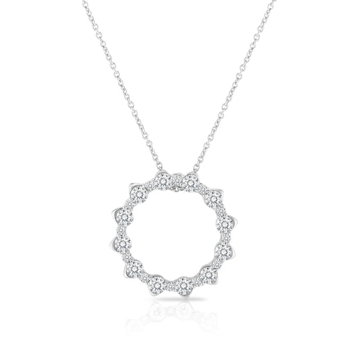 Roberto Coin Classic Diamond 18K White Gold Marquise Circle Diamond Necklace