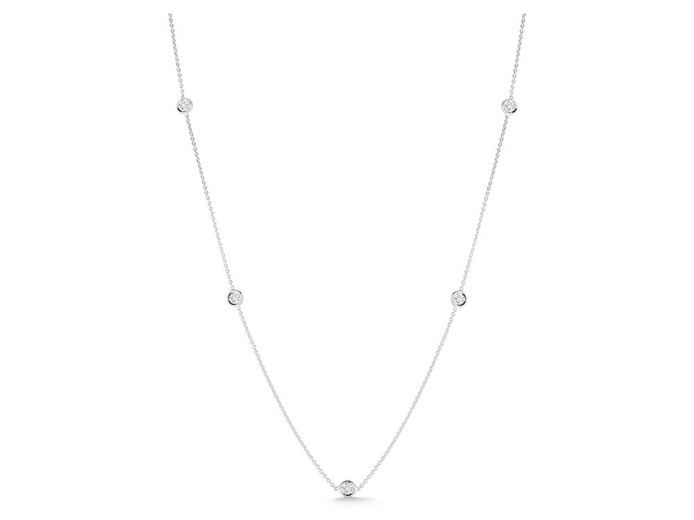 Roberto Coin Diamonds by the Inch White Gold and Diamond 5 Station Necklace