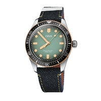 Oris x Momotaro Divers Sixty-Five Limited Edition Watch with Green Dial and Demin Strap