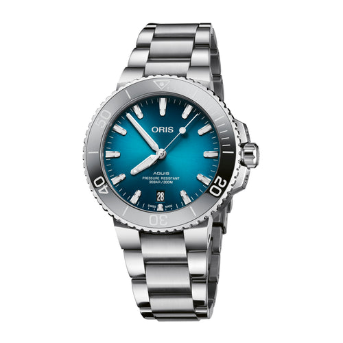 Oris Aquis Date Automatic Watch with Oceanic Blue Dial and Bracelet