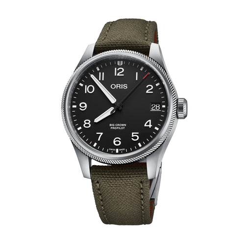 Oris Big Crown ProPilot Date Black Dial Watch with Textured Fabric Strap