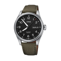 Oris Big Crown ProPilot Big Day Date Black Dial Watch with Olive Strap