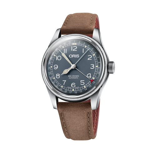 Oris Big Crown Pointer Date Blue Dial Watch with Brown Leather Strap