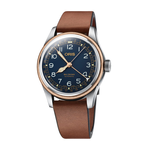 Oris Big Crown Pointer Date Blue Dial Watch with Bronze Top Ring and Leather Strap
