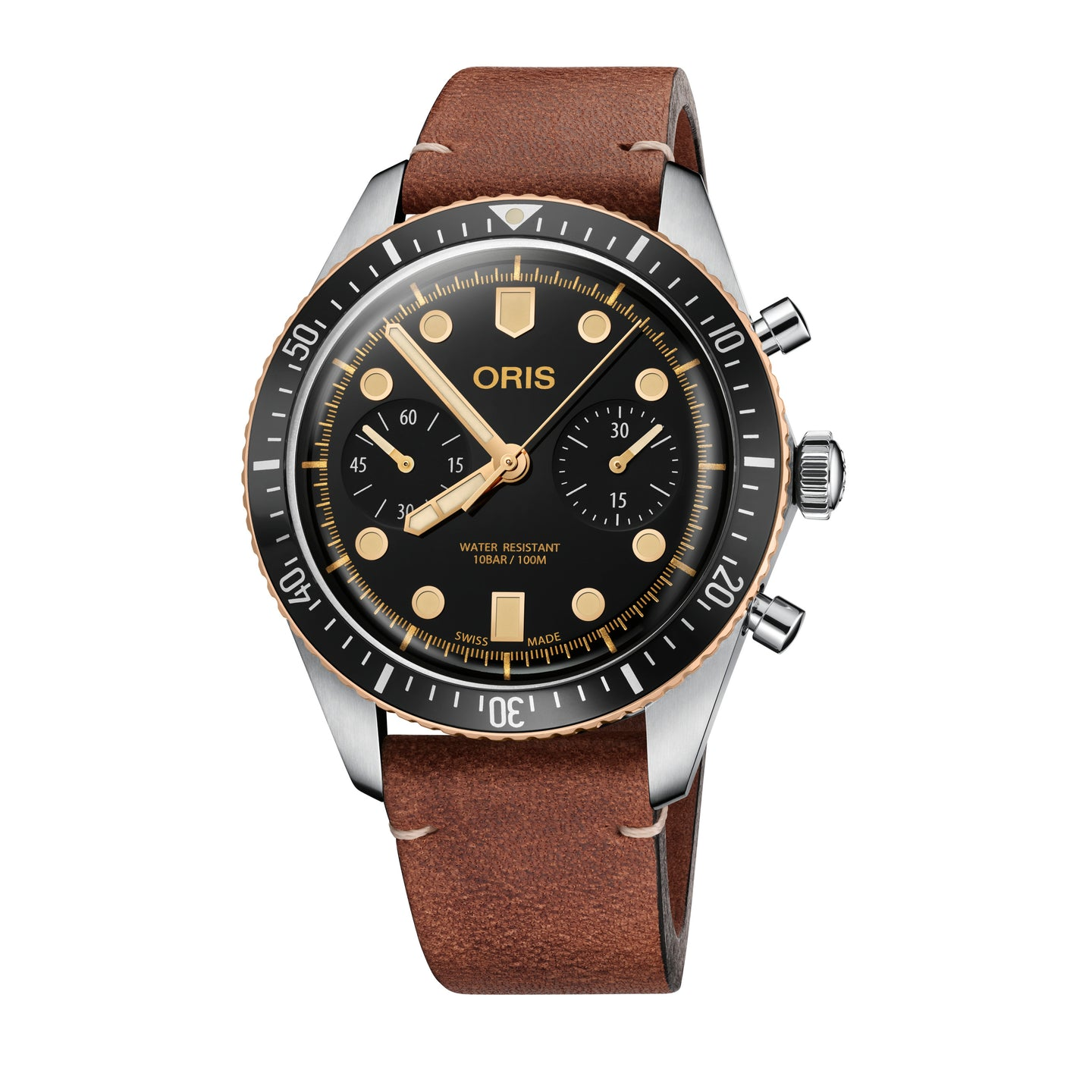 Oris Divers Sixty-Five Automatic Chronograph Watch with Black Dial and Leather Strap