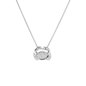 Roberto Coin Tiny Treasures 18K White Gold Diamond Crab Necklace