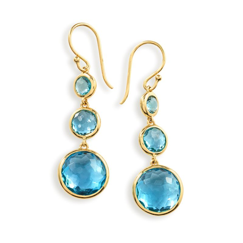 IPPOLITA Lollipop® 18K Yellow Gold Triple Drop Swiss Blue Topaz Earrings