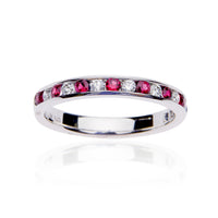 Fink's 18K White Gold Ruby and Diamond Channel Set Wedding Band