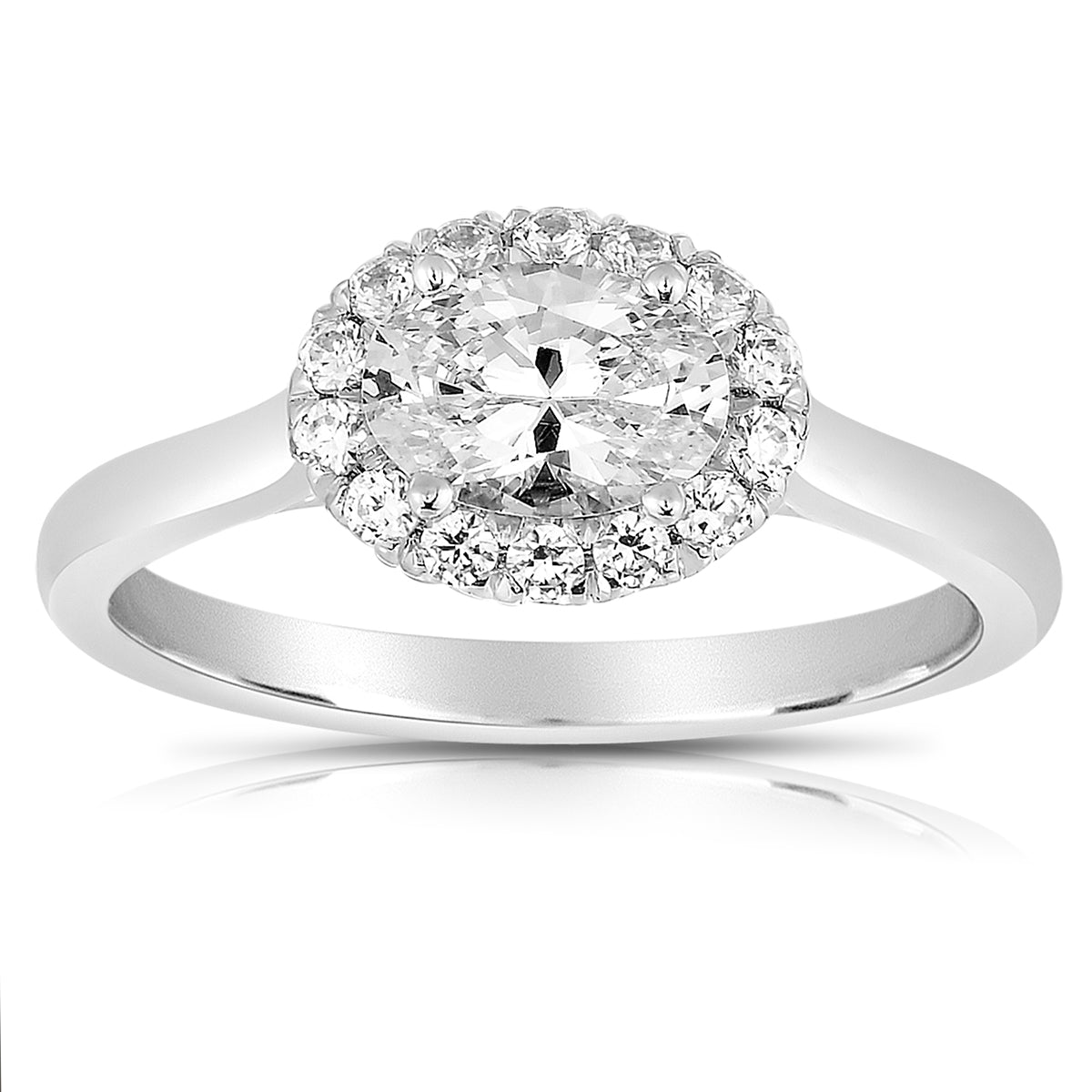 Fink's Exclusive 14K White Gold Sideways Oval Center Stone Diamond Halo Engagement Ring