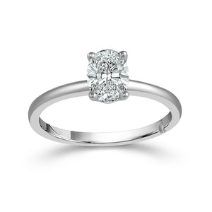 Fink's Exclusive 14K White Gold Oval Center Stone Engagement Ring
