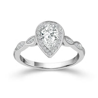 Fink's Exclusive 14K White Gold Pear Diamond Center Stone Engagement Ring