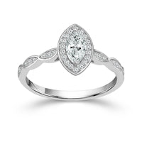 Fink's Exclusive 14K White Gold Marquise Diamond Center Stone Engagement Ring