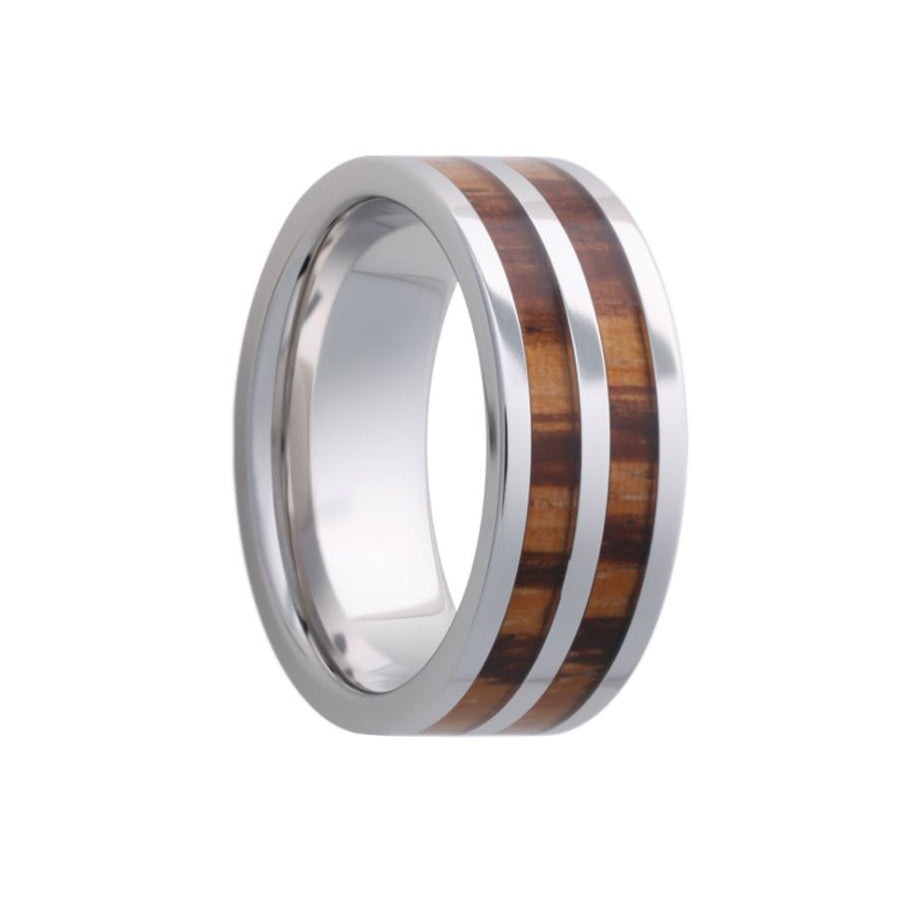 Fink's Men's 8mm Tungsten Wedding Band with Zebra Wood Inlay