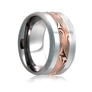 Fink's Men's 8mm Cobalt Wedding Band with 14K Rose Mokume Insert