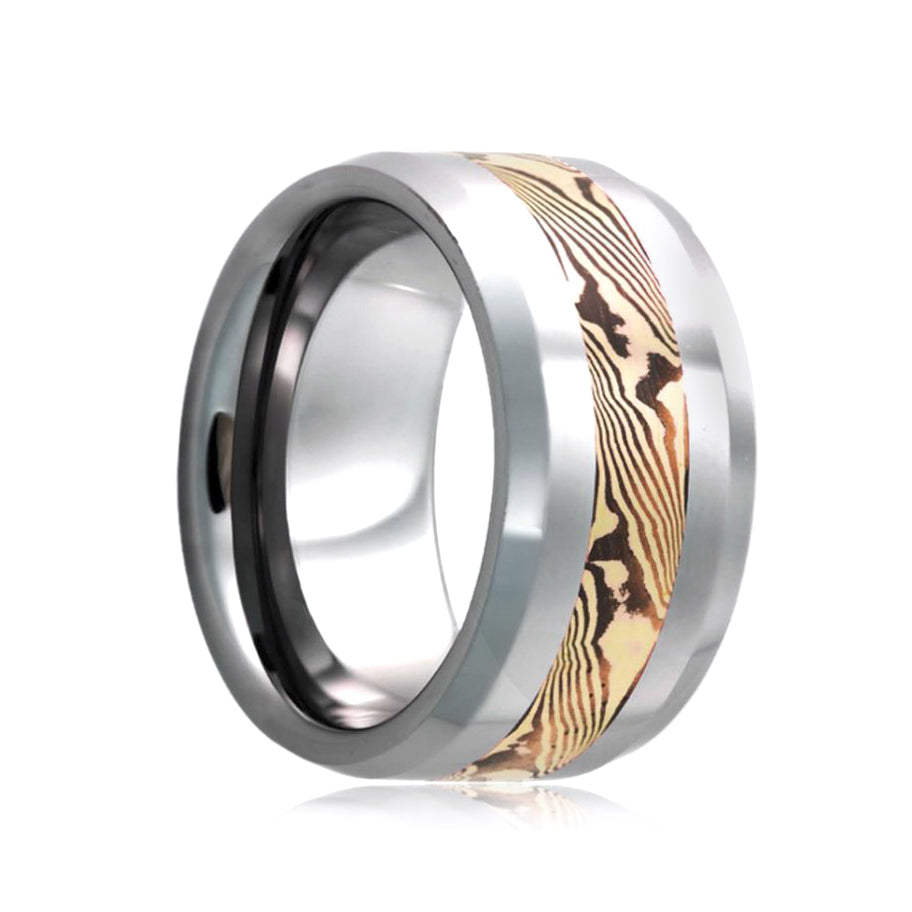 Fink's Men's 8mm Tungsten Wedding Band with 14K Rose Mokume Insert