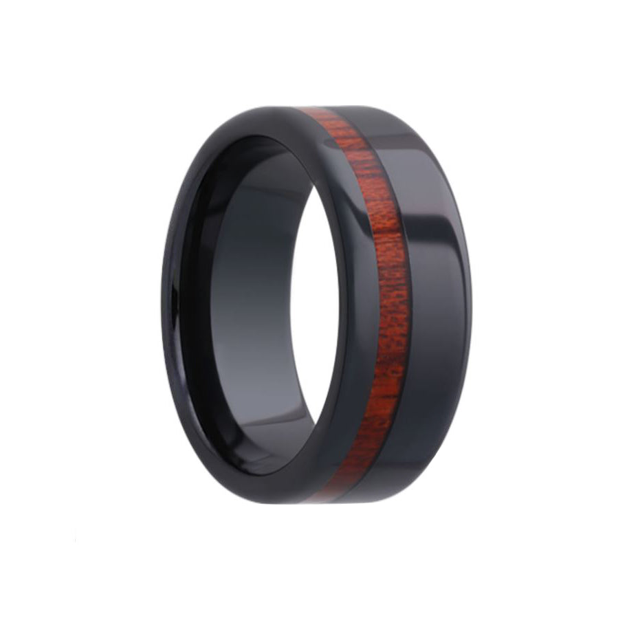Fink's Men's 8mm Black Ceramic Wedding Band with Blood Wood Inlay