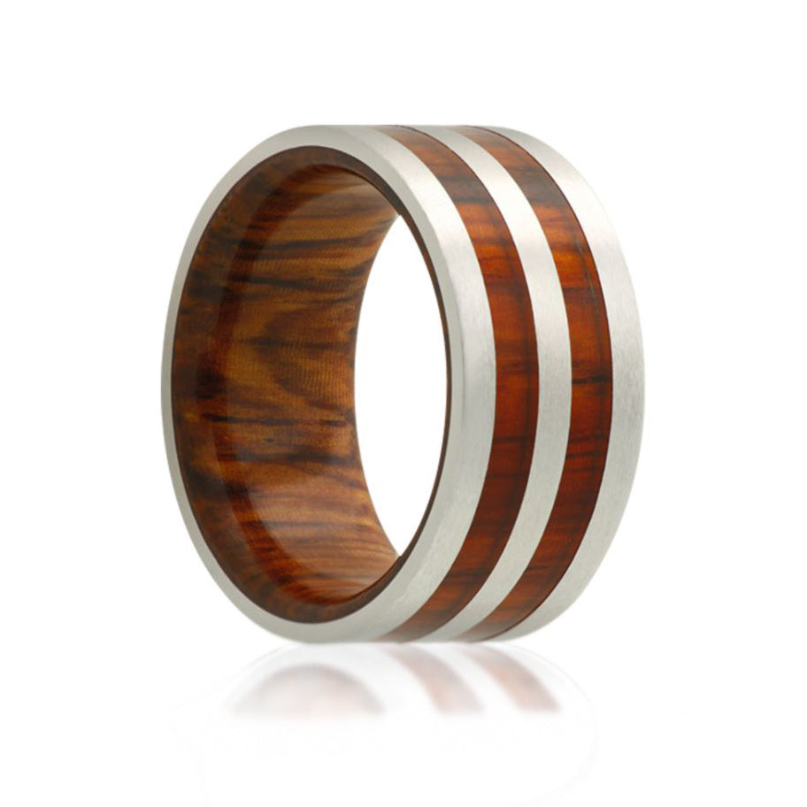 Fink's Men's 8mm Cobalt Wedding Band With Cocobolo Wood Inlay: Wooden Inlay Wedding Band At Websimilar.org