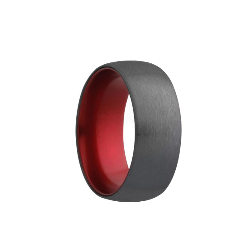 Fink's Men's 7mm Domed Zirconium Wedding Band with Red Aluminum Sleeve
