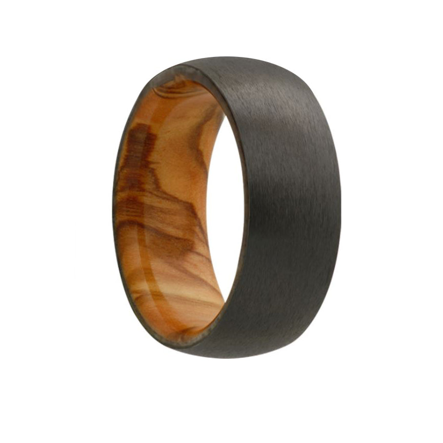 Fink's Men's 7mm Domed Zirconium Wedding Band with Olive Wood Sleeve