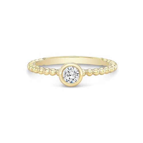 Forevermark Tribute™ Collection 18K Yellow Gold Diamond Bezel Beaded Shank Stacking Ring