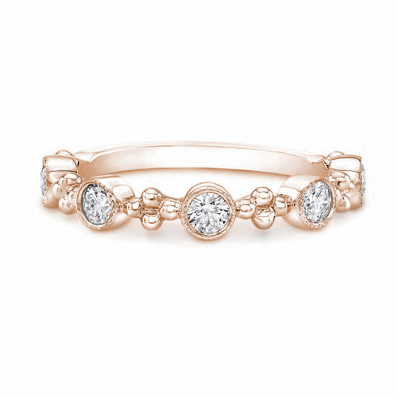 Forevermark Tribute™ Collection 18K Rose Gold Diamond Bezel Multi-Stone Stacking Ring