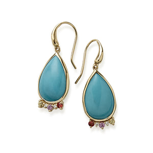 IPPOLITA Prisma 18K Yellow Gold Turquoise Teardrop Earrings with Gemstone Accents