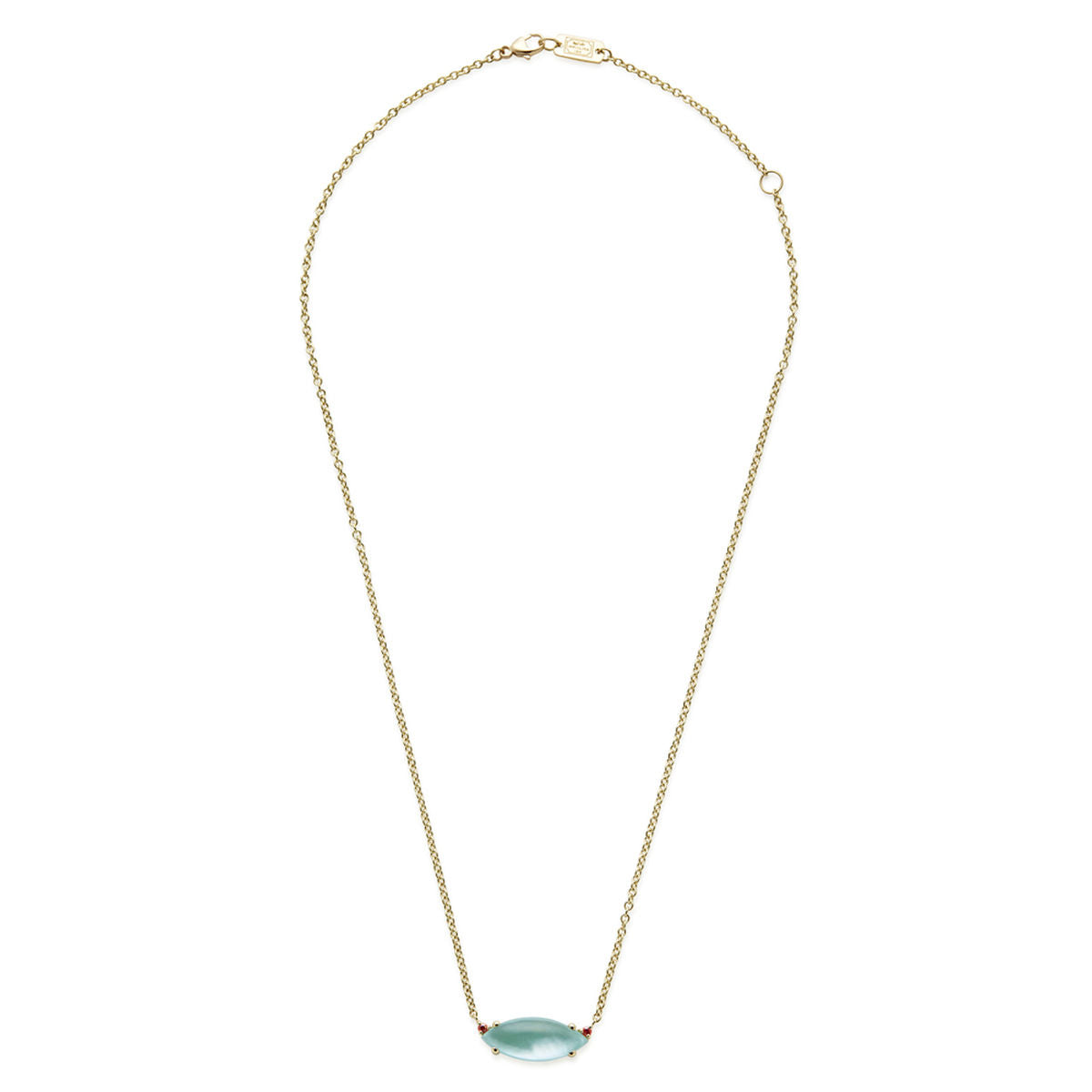 IPPOLITA Prisma 18K Yellow Gold Amazonite Triplet Marquise Necklace with Orange Sapphire