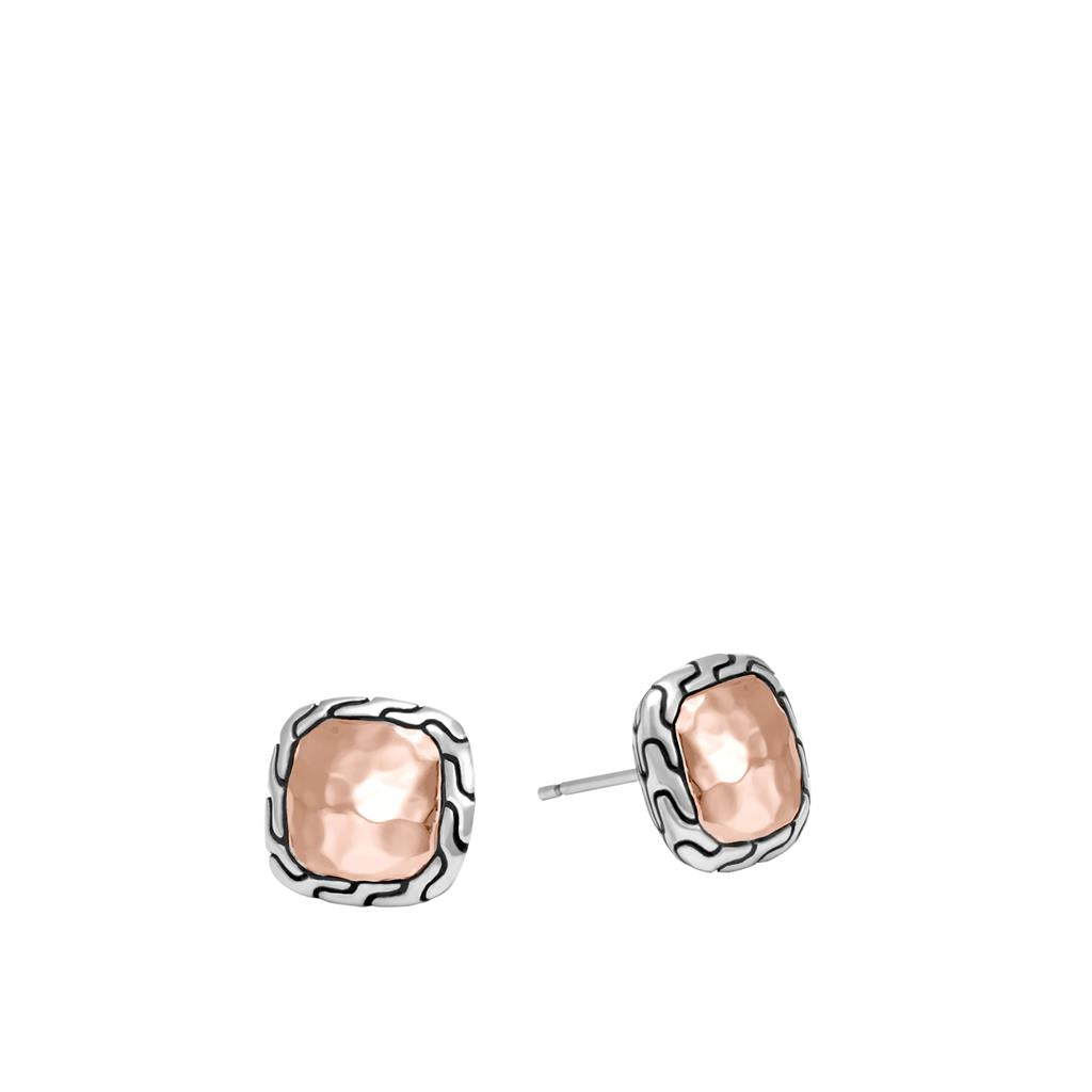 John Hardy Classic Chain Sterling Silver and Rose Gold Stud Earrings