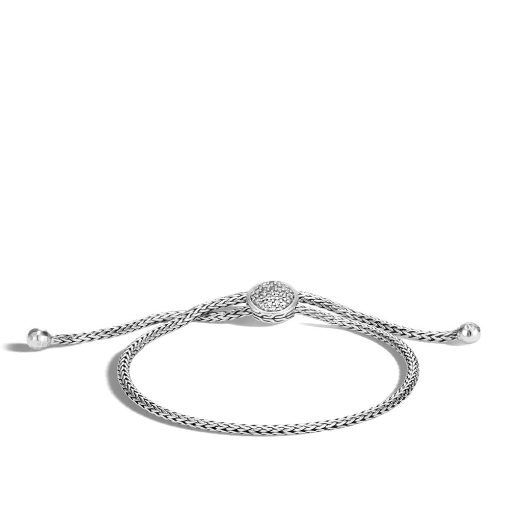 John Hardy Classic Chain Sterling Silver Diamond Pull Through Clasp Bracelet