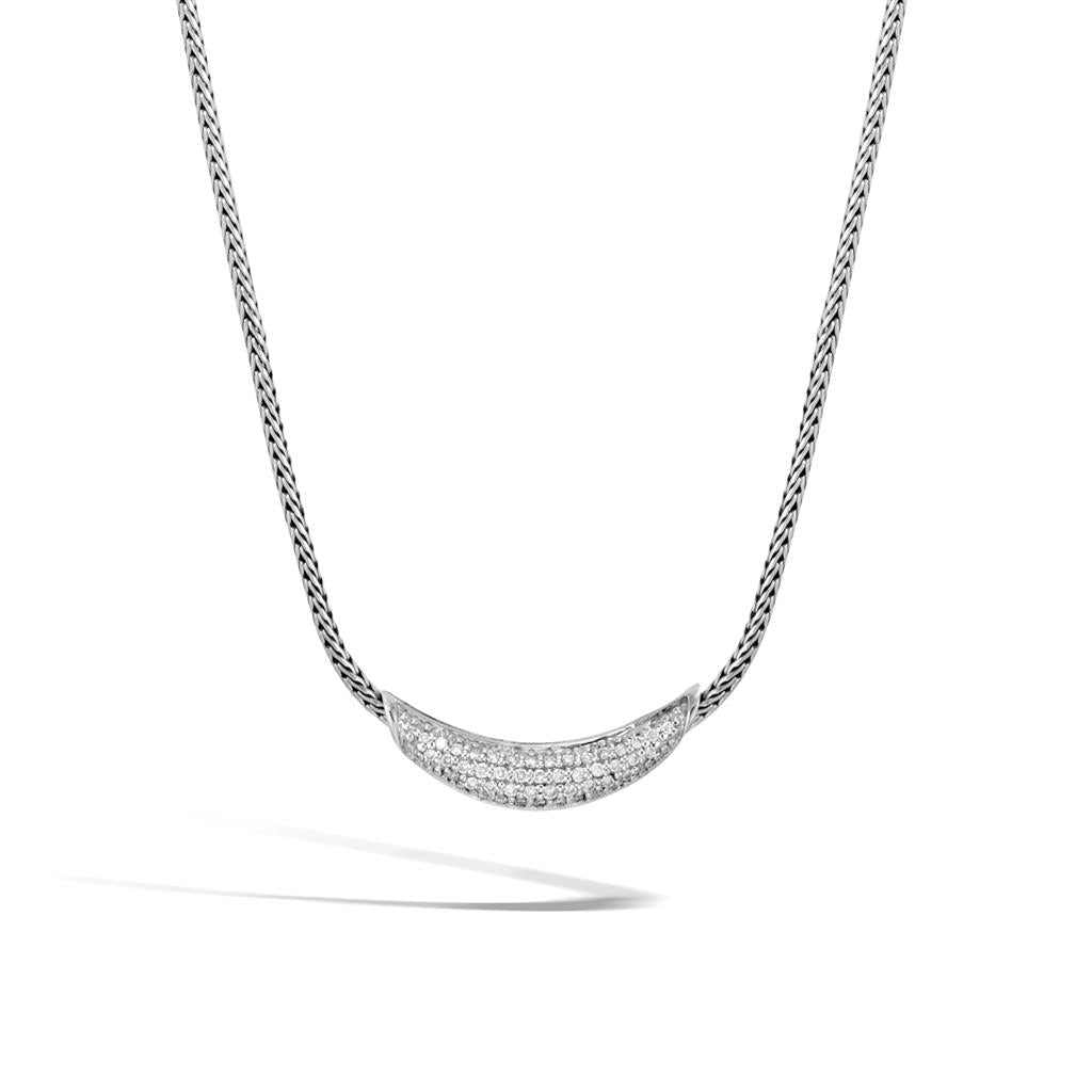 John Hardy Classic Chain Sterling Silver Diamond Arch Necklace