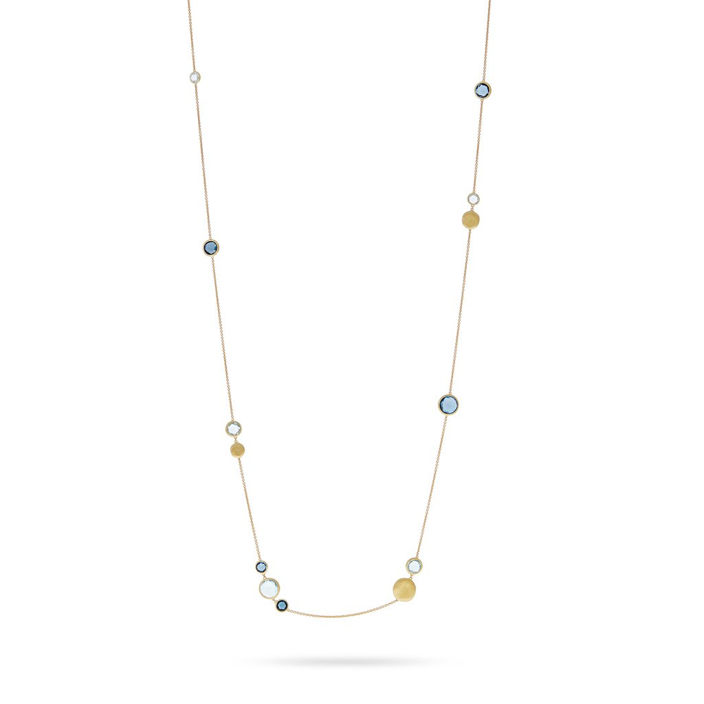 Marco Bicego Jaipur 18K Yellow Gold Mixed Blue Topaz Station Necklace