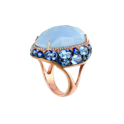 Marco Moore 14K Rose Gold Chalcedony and Ceylon Sapphire Ring
