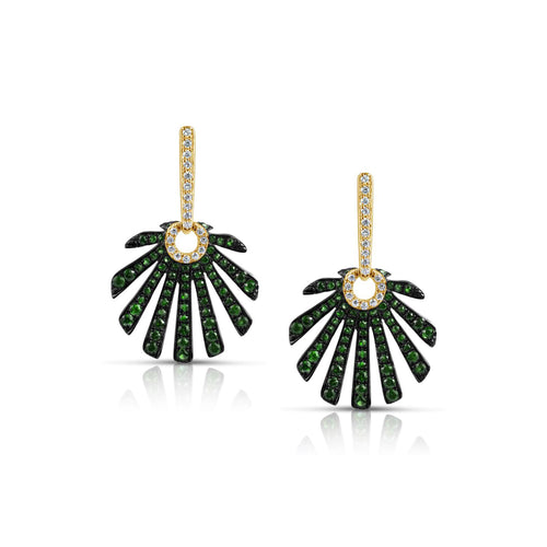 Marco Moore 14K Yellow Gold Tsavorite and Diamond Earrings