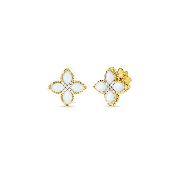 Roberto Coin Princess Flower 18K Yellow Gold Mother-of-Pearl Stud Earrings