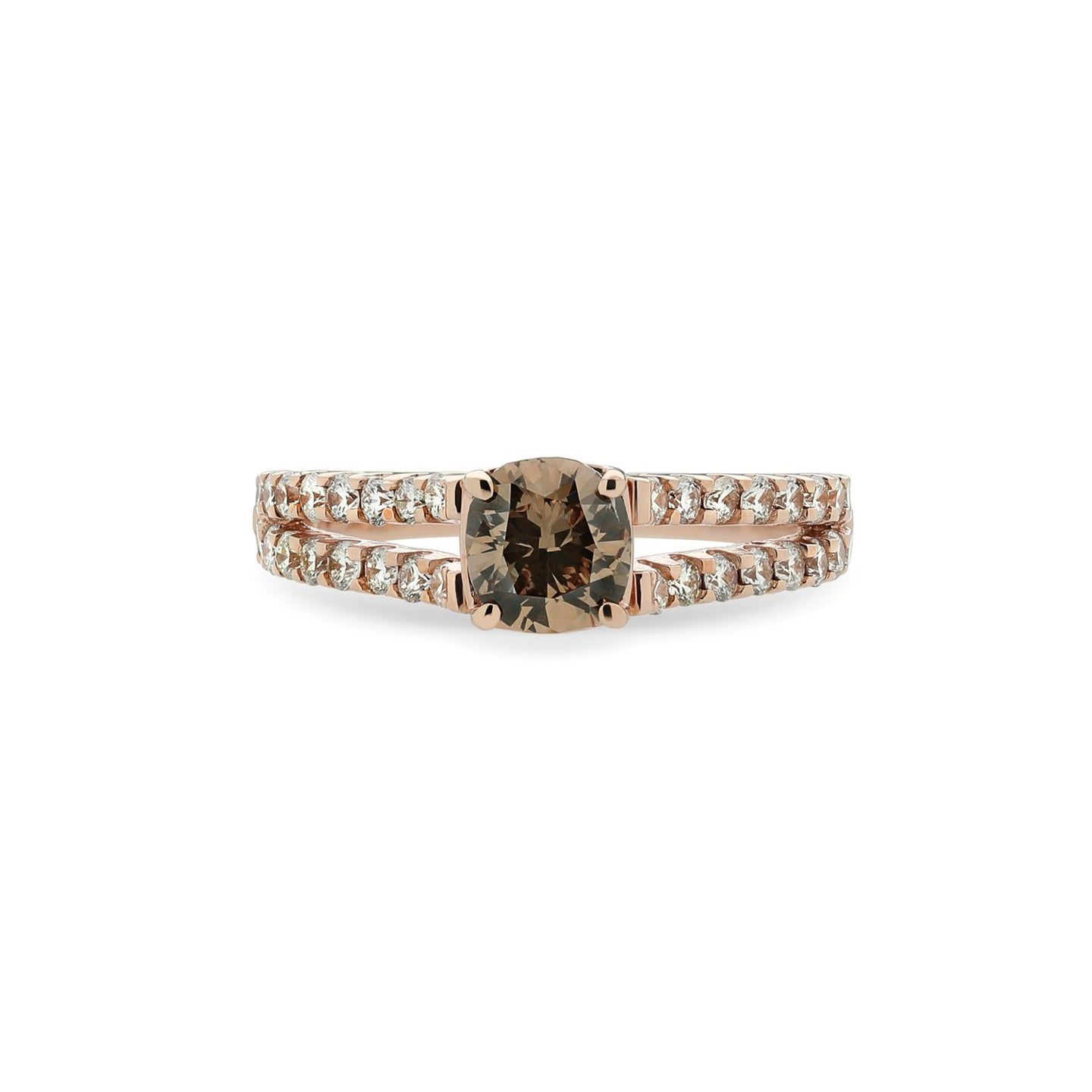 Sabel Collection 14K Rose Gold Cushion Cut Mocha Diamond Split Shank Ring