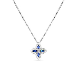 Roberto Coin Princess Flower 18K White Gold Sapphire and Diamond Necklace
