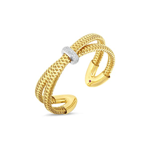 Roberto Coin Primavera 18K Yellow Gold and Diamond Woven Crisscross Bangle