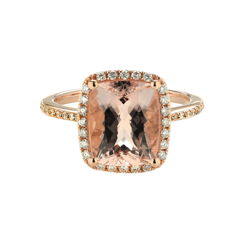 Sabel Collection 14K Rose Gold Cushion Cut Morganite and Diamond Ring