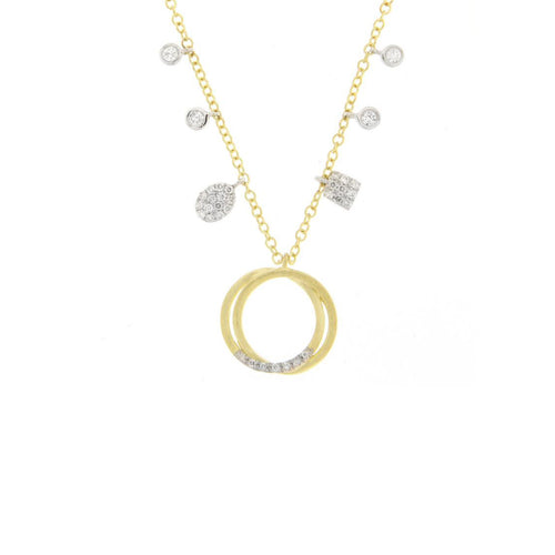 Meira T 14K Yellow Gold Brushed Circle Necklace with Bezel Set and Pavé Charms