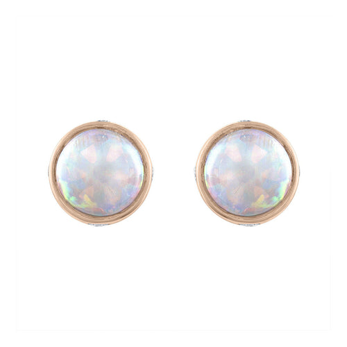 Sabel Collection 14K Rose Gold Bezel Set Opal and Diamond Stud Earrings