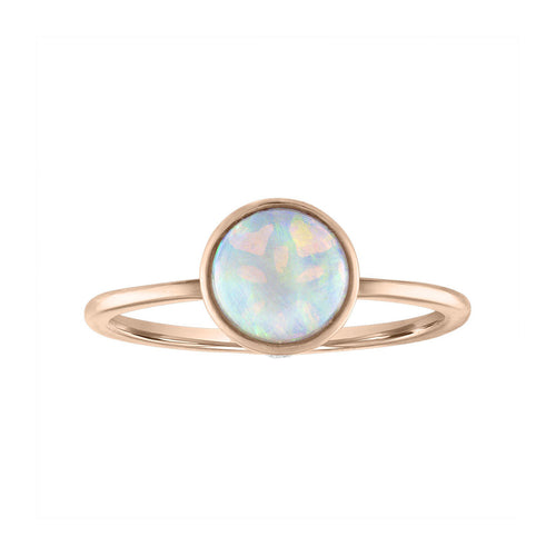 Sabel Collection 14K Rose Gold Bezel Set Opal Ring with Diamond Inlay Accent