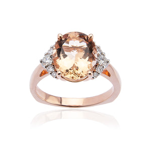 Sabel Collection 14K Rose Gold Oval Morganite and Diamond Cluster Ring