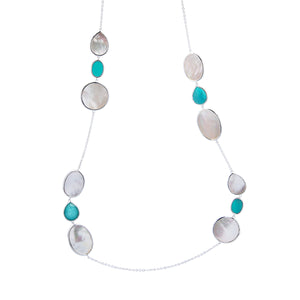 IPPOLITA Polished Rock Candy® Sterling Silver Ondine Station Necklace in Turquoise Doublet and Mother-of-Pearl